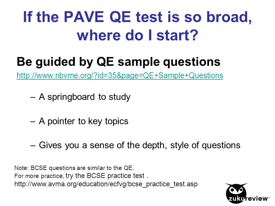 If the PAVE QE test is so broad, where do I start? Be guided by QE sample questions http://www.nbvme.org/?id=35&page=QE+Sample+Questions –A springboar