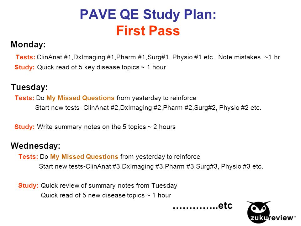 PAVE QE Study Plan: First Pass Monday: Tests: ClinAnat #1,DxImaging #1,Pharm #1,Surg#1, Physio #1 etc. Note mistakes. ~1 hr Study: Quick read of 5 key
