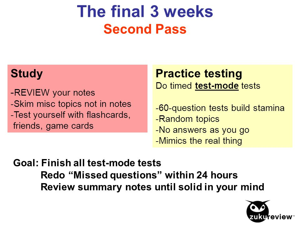 "Goal: Finish all test-mode tests Redo ""Missed questions"" within 24 hours Review summary notes until solid in your mind Study - REVIEW your notes -Skim"