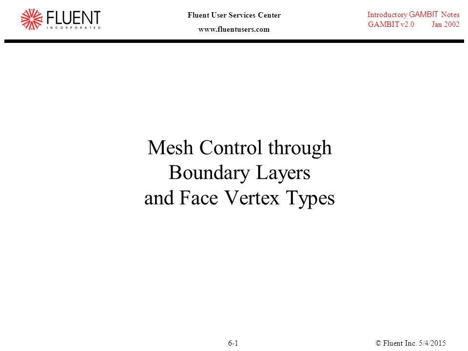 © Fluent Inc. 5/4/20156-1 Introductory GAMBIT Notes GAMBIT v2.0 Jan 2002 Fluent User Services Center www.fluentusers.com Mesh Control through Boundary