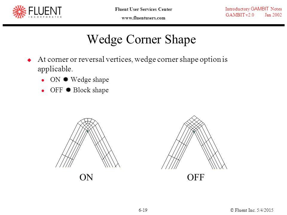 © Fluent Inc. 5/4/20156-19 Introductory GAMBIT Notes GAMBIT v2.0 Jan 2002 Fluent User Services Center www.fluentusers.com Wedge Corner Shape  At corn