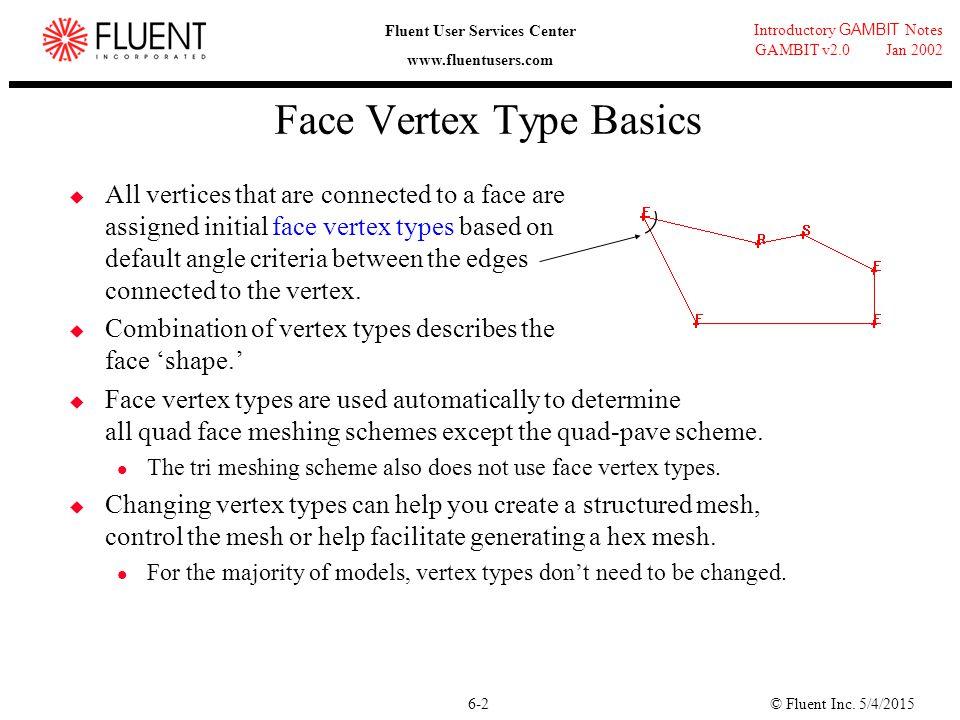 © Fluent Inc. 5/4/20156-2 Introductory GAMBIT Notes GAMBIT v2.0 Jan 2002 Fluent User Services Center www.fluentusers.com Face Vertex Type Basics  All