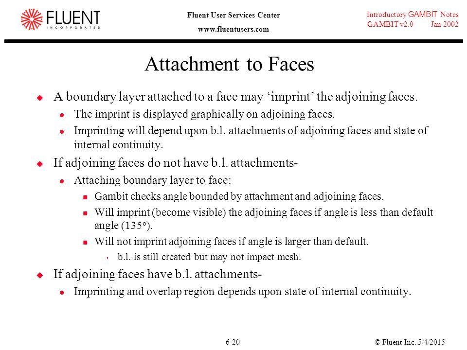 © Fluent Inc. 5/4/20156-20 Introductory GAMBIT Notes GAMBIT v2.0 Jan 2002 Fluent User Services Center www.fluentusers.com Attachment to Faces  A boun