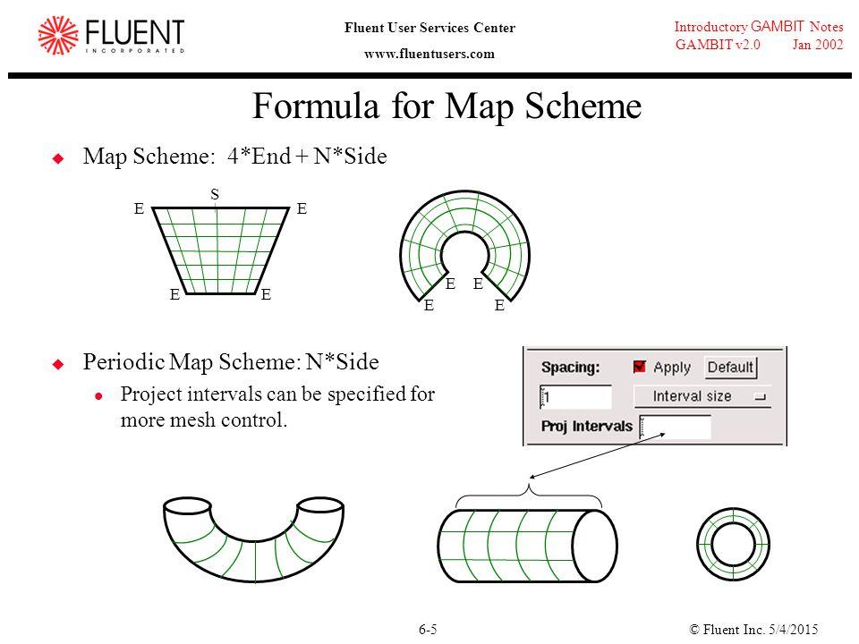 © Fluent Inc. 5/4/20156-5 Introductory GAMBIT Notes GAMBIT v2.0 Jan 2002 Fluent User Services Center www.fluentusers.com Formula for Map Scheme  Map