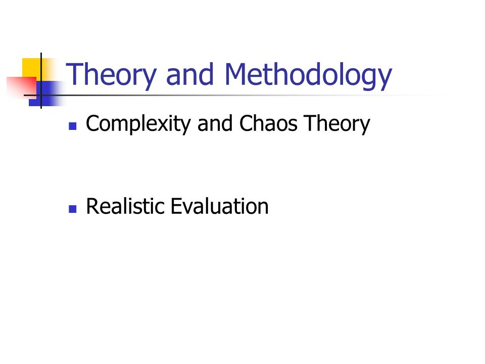 Theory and Methodology Complexity and Chaos Theory Realistic Evaluation