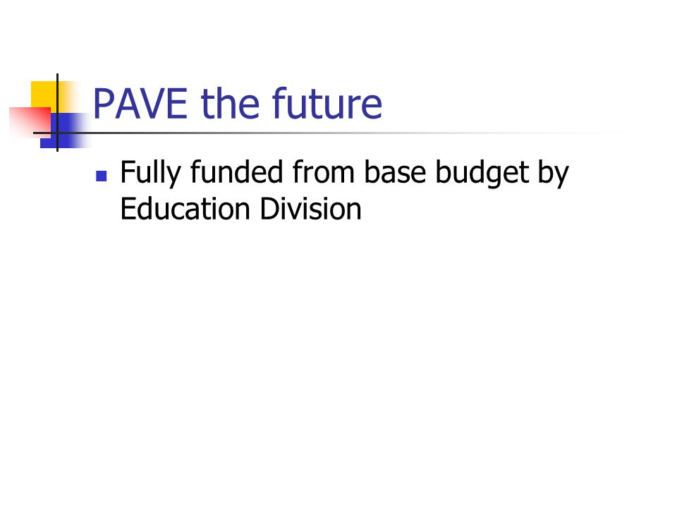 PAVE the future Fully funded from base budget by Education Division