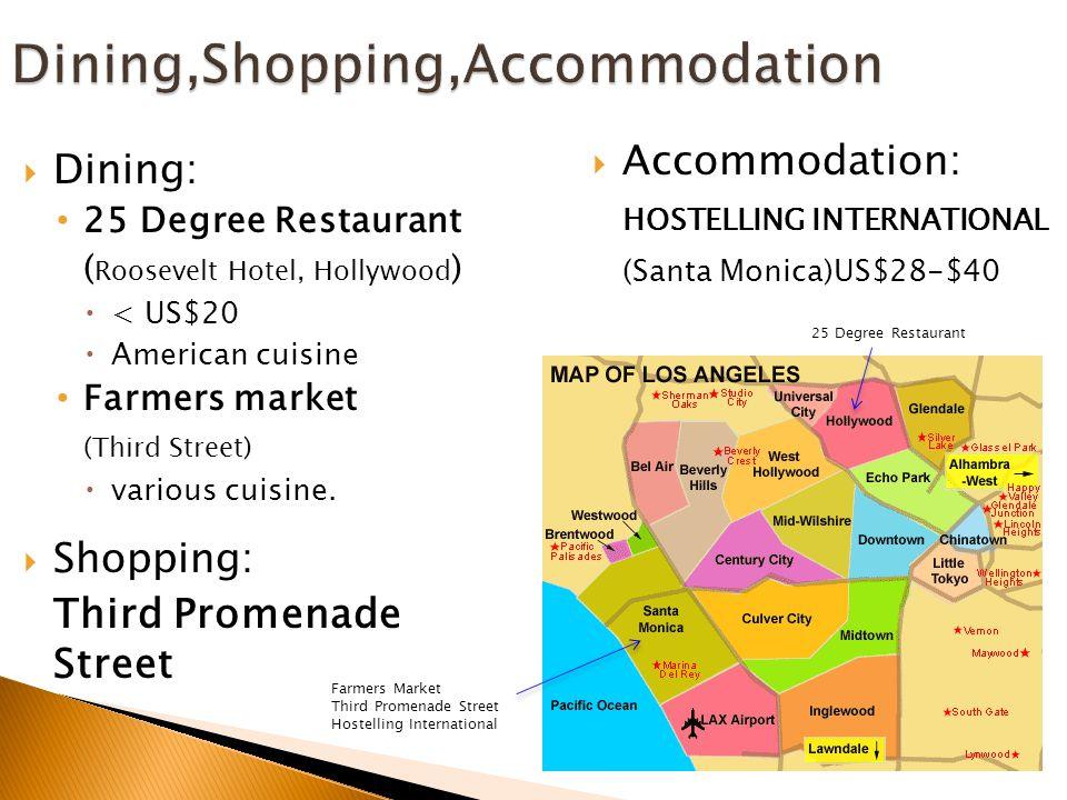 Dining,Shopping,Accommodation  Dining: 25 Degree Restaurant ( Roosevelt Hotel, Hollywood )  < US$20  American cuisine Farmers market (Third Street)  various cuisine.