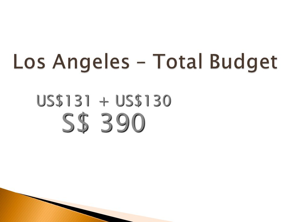 Los Angeles – Total Budget US$131 + US$130 S$ 390