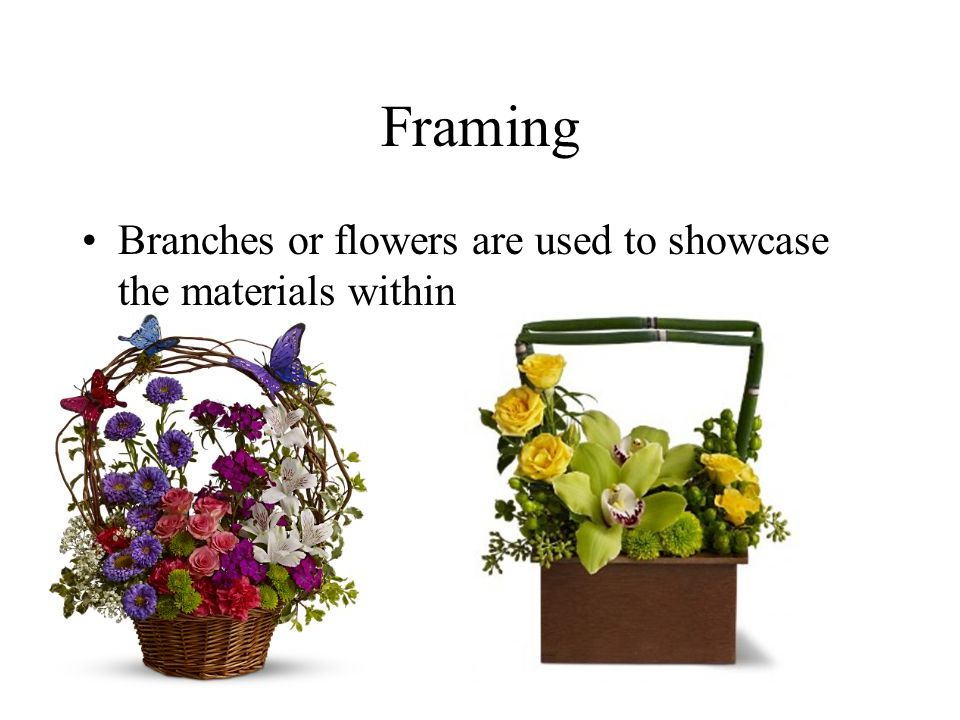 Framing Branches or flowers are used to showcase the materials within