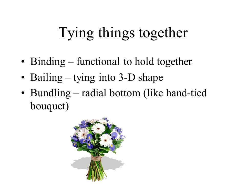 Tying things together Binding – functional to hold together Bailing – tying into 3-D shape Bundling – radial bottom (like hand-tied bouquet)
