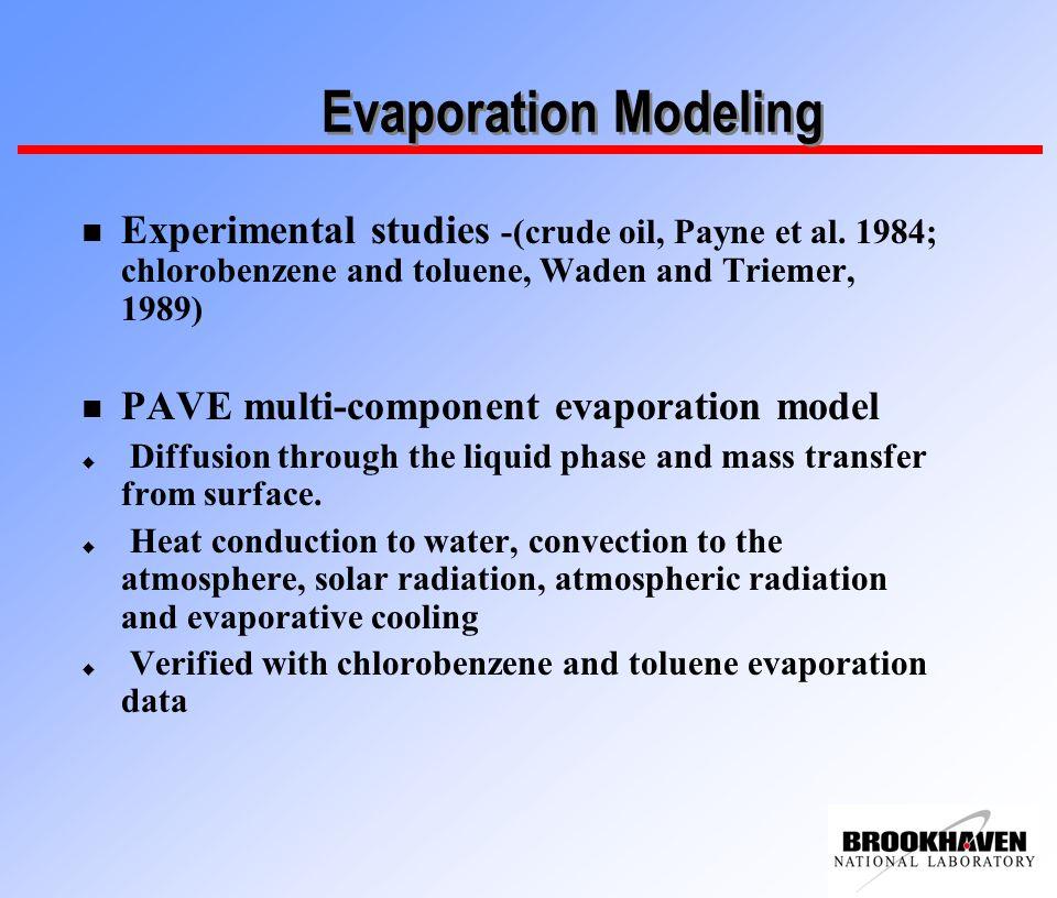 Evaporation Modeling n Experimental studies -(crude oil, Payne et al.