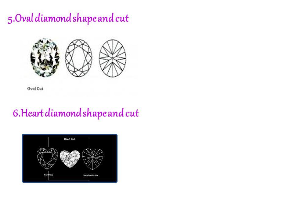 5.Oval diamond shape and cut 6.Heart diamond shape and cut