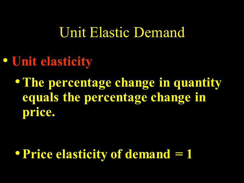 Unit Elastic Demand Unit elasticity The percentage change in quantity equals the percentage change in price.