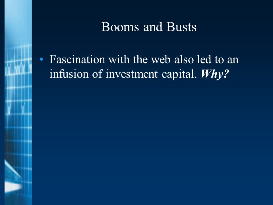 Booms and Busts Fascination with the web also led to an infusion of investment capital. Why?