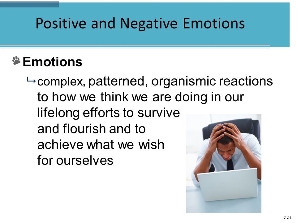 5-14 Positive and Negative Emotions Emotions  complex, patterned, organismic reactions to how we think we are doing in our lifelong efforts to survive and flourish and to achieve what we wish for ourselves