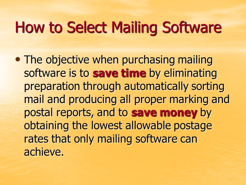 Presorting Mailing Sorting mail and preparing it in container so that it can be transported though the postal system.
