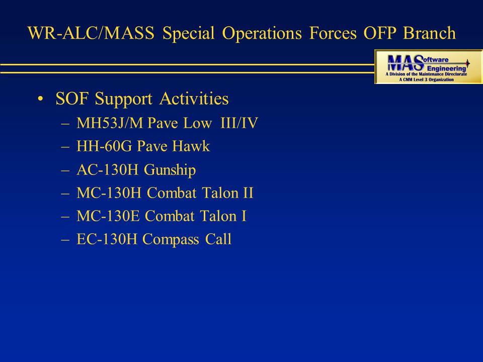 WR-ALC/MASS Special Operations Forces OFP Branch SOF Support Activities –MH53J/M Pave Low III/IV –HH-60G Pave Hawk –AC-130H Gunship –MC-130H Combat Talon II –MC-130E Combat Talon I –EC-130H Compass Call