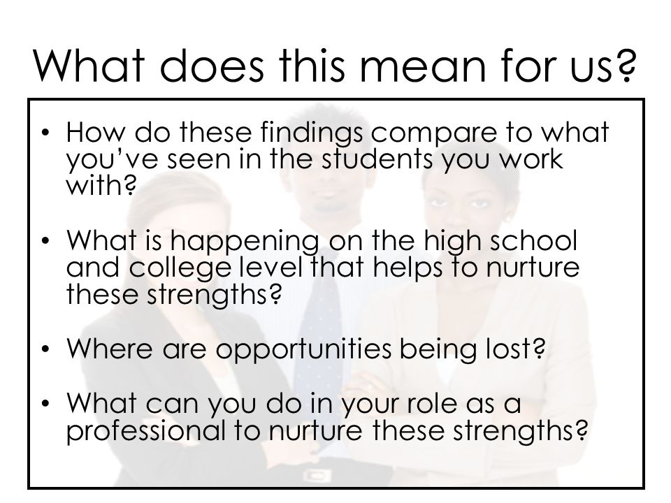 How do these findings compare to what you've seen in the students you work with.