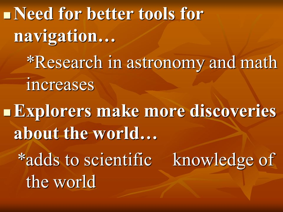 Need for better tools for navigation… Need for better tools for navigation… *Research in astronomy and math increases Explorers make more discoveries