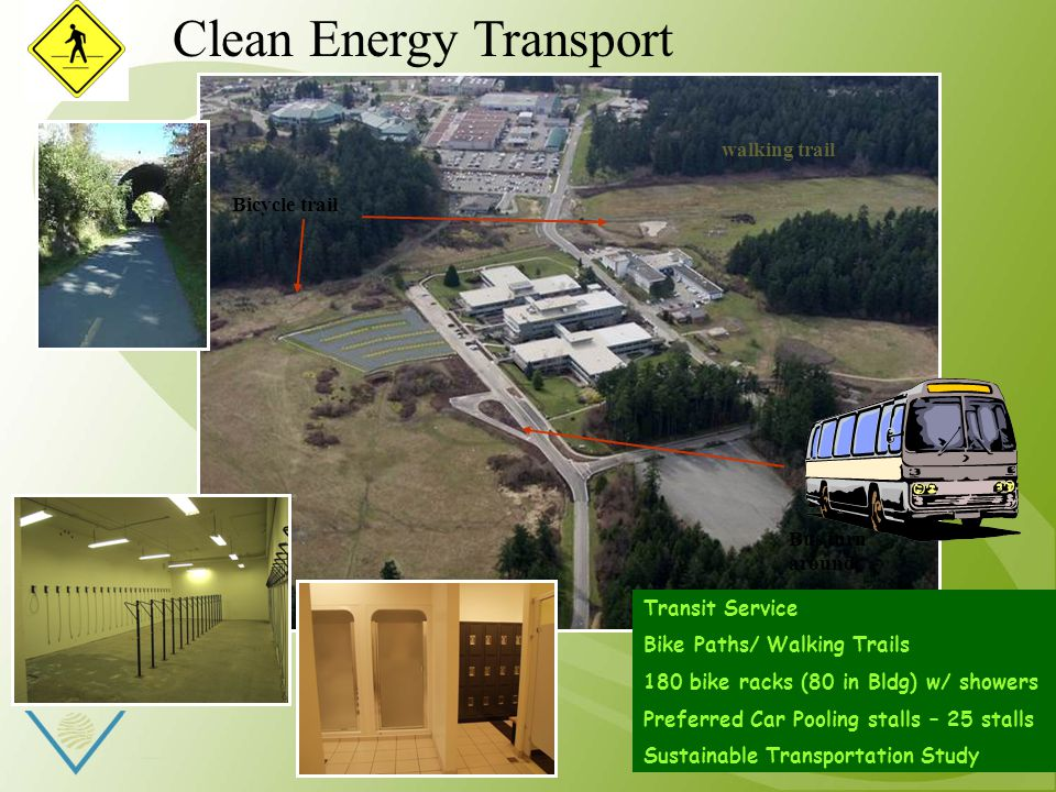 Bicycle trail walking trail Bus turn around Transit Service Bike Paths/ Walking Trails 180 bike racks (80 in Bldg) w/ showers Preferred Car Pooling stalls – 25 stalls Sustainable Transportation Study Clean Energy Transport