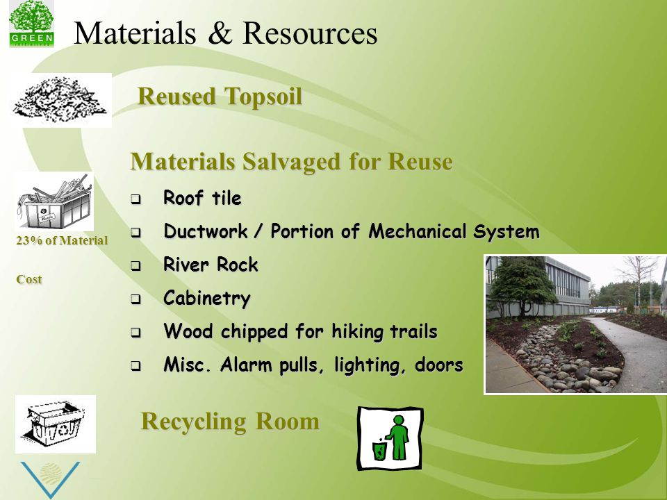 Materials Salvaged for Reuse  Roof tile  Ductwork / Portion of Mechanical System  River Rock  Cabinetry  Wood chipped for hiking trails  Misc.