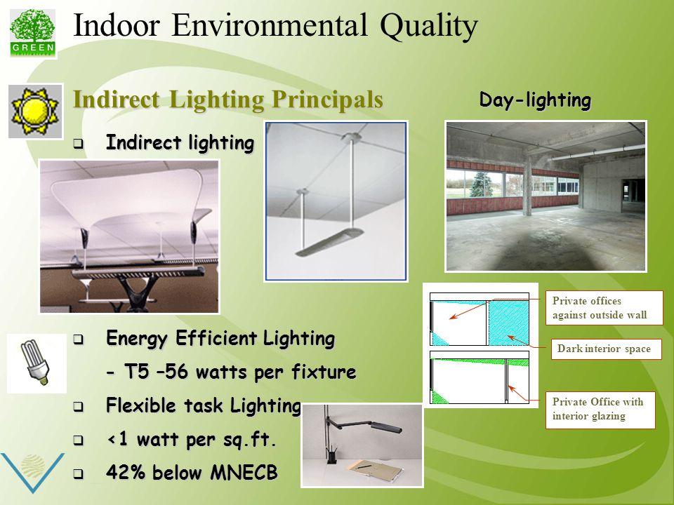 Indirect Lighting Principals  Indirect lighting  Energy Efficient Lighting - T5 –56 watts per fixture - T5 –56 watts per fixture  Flexible task Lighting  <1 watt per sq.ft.