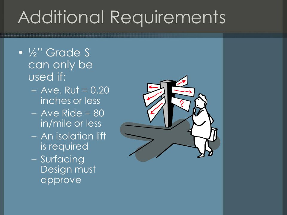 Additional Requirements ½ Grade S can only be used if: –Ave.