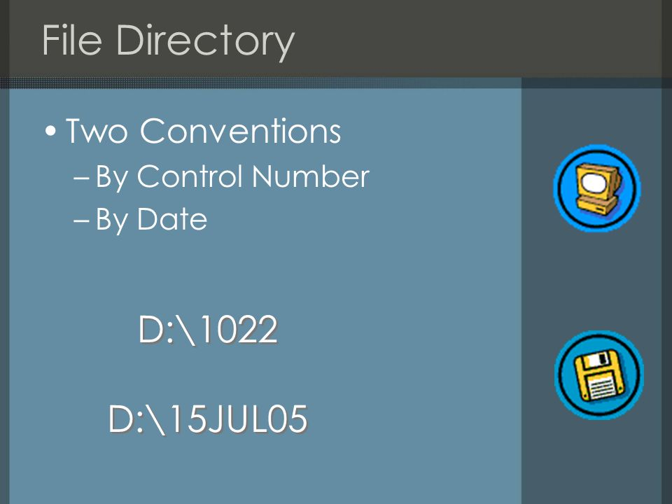 File Directory Two Conventions –By Control Number –By Date D:\1022 D:\15JUL05 D:\1022 D:\15JUL05