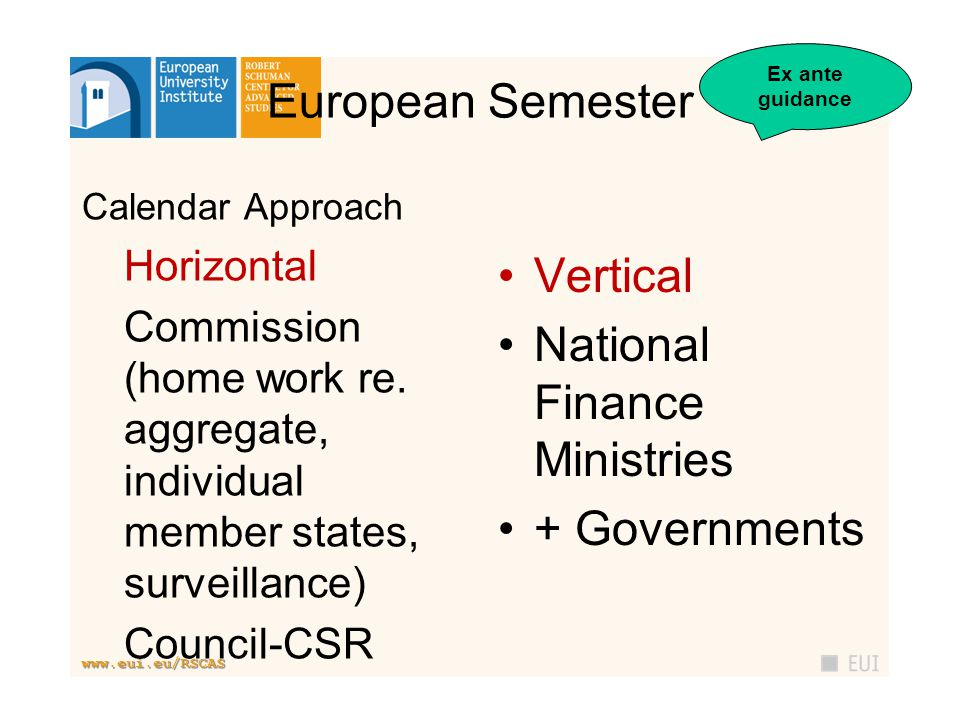 www.eui.eu/RSCAS European Semester Calendar Approach Horizontal Commission (home work re.