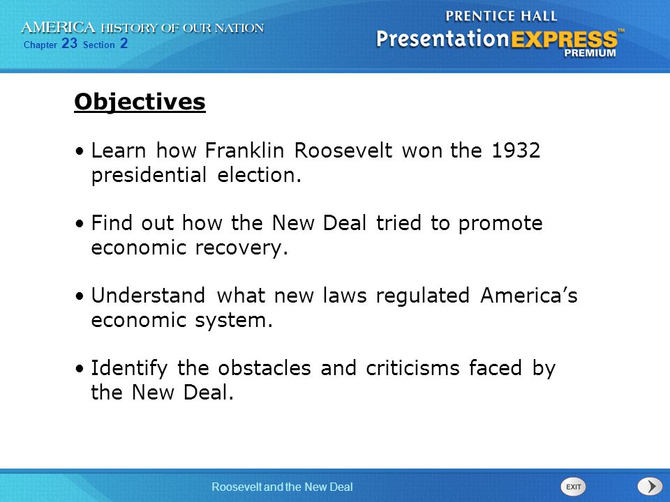 Chapter 23 Section 2 Roosevelt and the New Deal Terms and People Franklin D.
