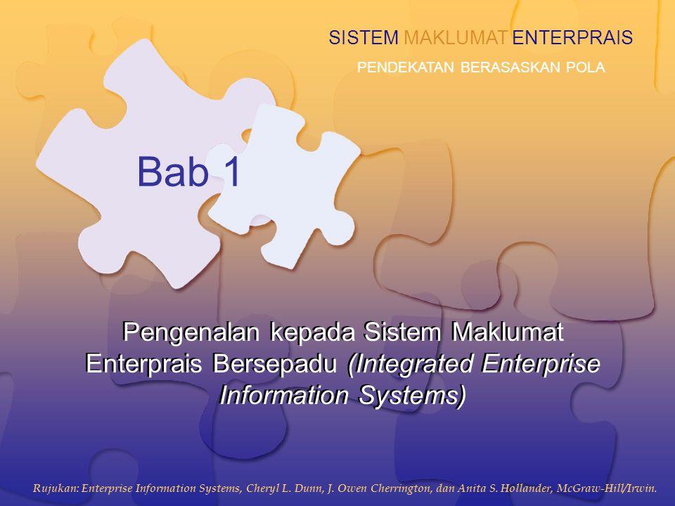 1-2 Objektif Pembelajaran 1.Menakrif sistem maklumat enterprais bersepadu 2.Mengenalpasti halangan kepada mengintegrasi komponen sistem maklumat enterprais 3.Menerang keperluan untuk menghapus stovepipes, dalam operasi dan dalam sistem maklumat 4.Mengenalpasti aktiviti enterprais sebagai peluang bagi rekayasaan (re-engineering) efektif