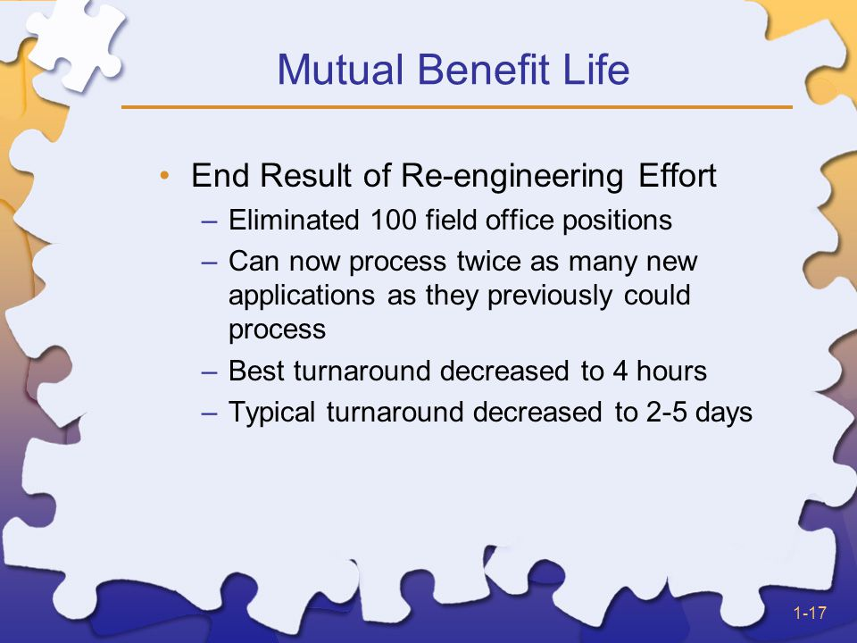 1-17 Mutual Benefit Life End Result of Re-engineering Effort –Eliminated 100 field office positions –Can now process twice as many new applications as they previously could process –Best turnaround decreased to 4 hours –Typical turnaround decreased to 2-5 days
