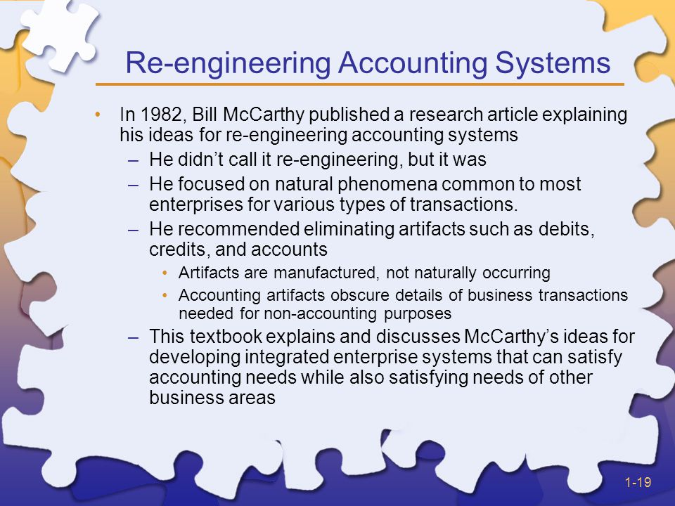 1-19 In 1982, Bill McCarthy published a research article explaining his ideas for re-engineering accounting systems –He didn't call it re-engineering, but it was –He focused on natural phenomena common to most enterprises for various types of transactions.