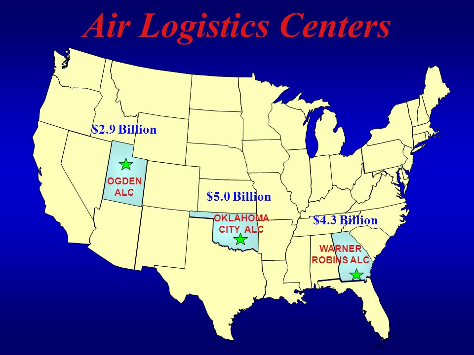WARNER ROBINS ALC OGDEN ALC OKLAHOMA CITY ALC Air Logistics Centers $2.9 Billion $5.0 Billion $4.3 Billion