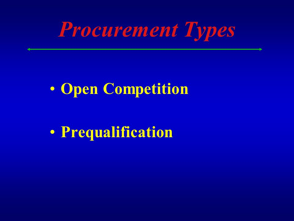Procurement Types Open Competition Prequalification