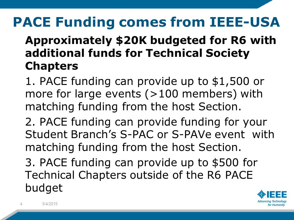 PACE Funding comes from IEEE-USA Approximately $20K budgeted for R6 with additional funds for Technical Society Chapters 1.