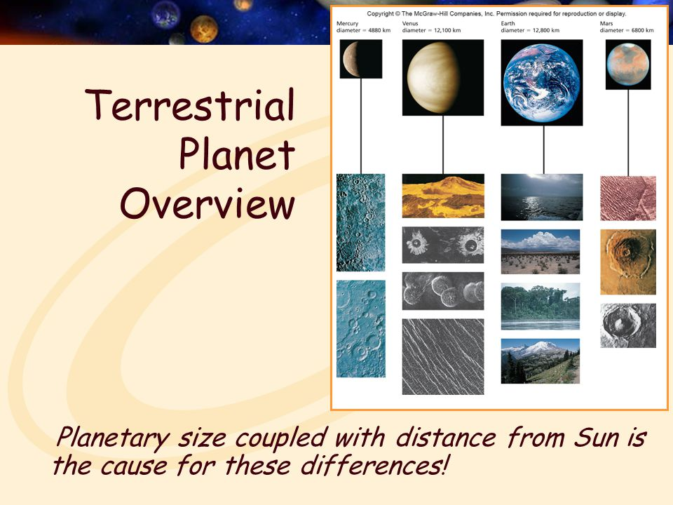 Terrestrial Planet Overview Planetary size coupled with distance from Sun is the cause for these differences!