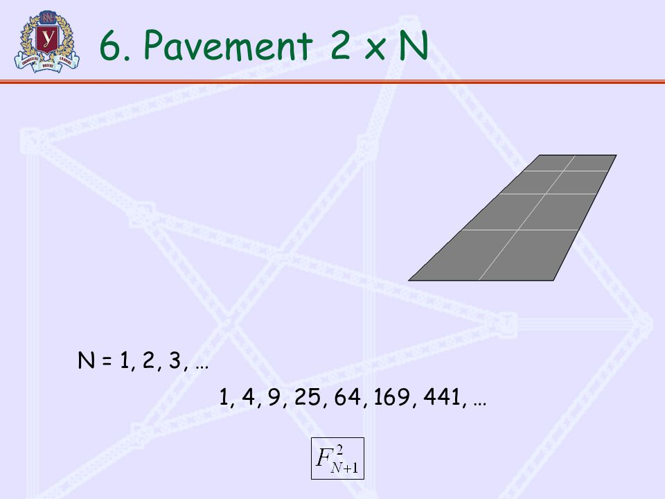 1, 4, 9, 25, 64, 169, 441, … 6. Pavement2 x N N = 1, 2, 3, …