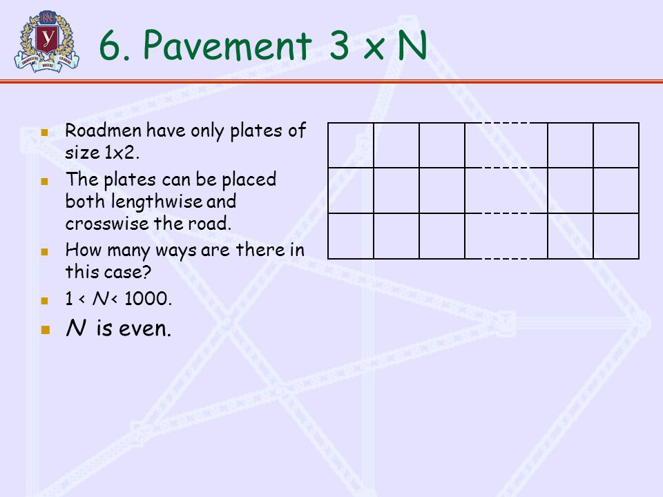 6. Pavement3 x N Roadmen have only plates of size 1x2.