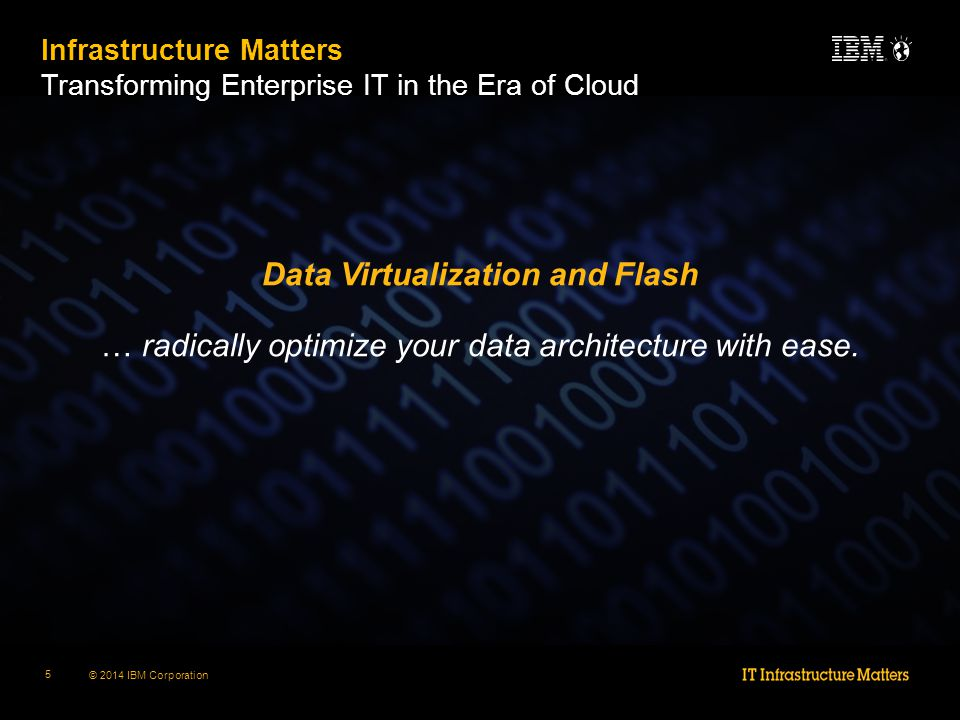 © 2014 IBM Corporation 5 Data Virtualization and Flash … radically optimize your data architecture with ease.