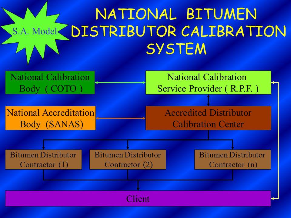 S.A. Model NATIONAL BITUMEN DISTRIBUTOR CALIBRATION SYSTEM National Calibration Body ( COTO ) National Calibration Service Provider ( R.P.F. ) Accredi