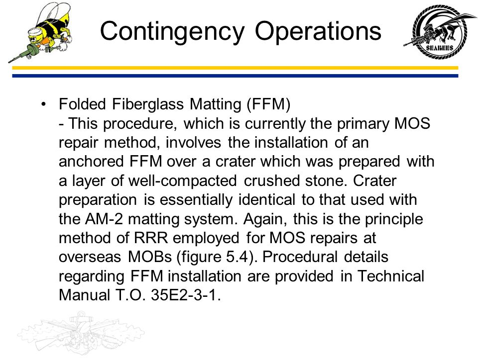 Contingency Operations – AM-2 aluminum matting is hand- assembled and anchored over the crater which was prepared with a layer of crushed stone.