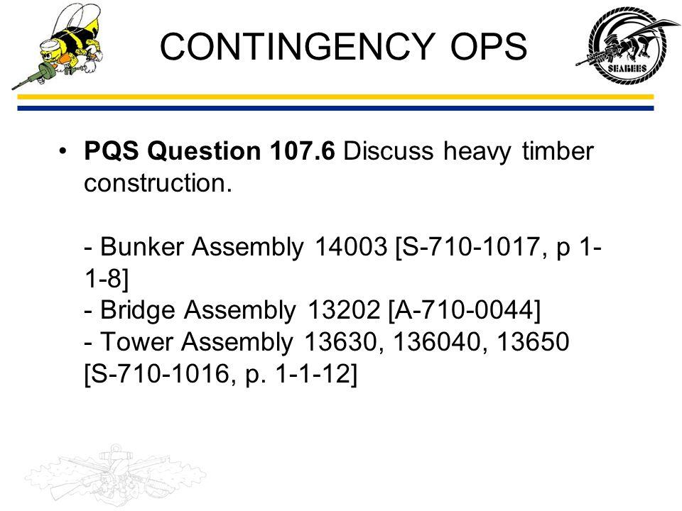CONTINGENCY OPS Bunker [Assembly 14003] –Total M-Hr = 891 BU = 340 SW = 40 EO = 3 CN = 508 Bridge [Assembly 13202] –Total M-Hr = 560 BU = 560 Tower [Assembly 13606] –Total M-Hr =191 BU = 127 EO = 64