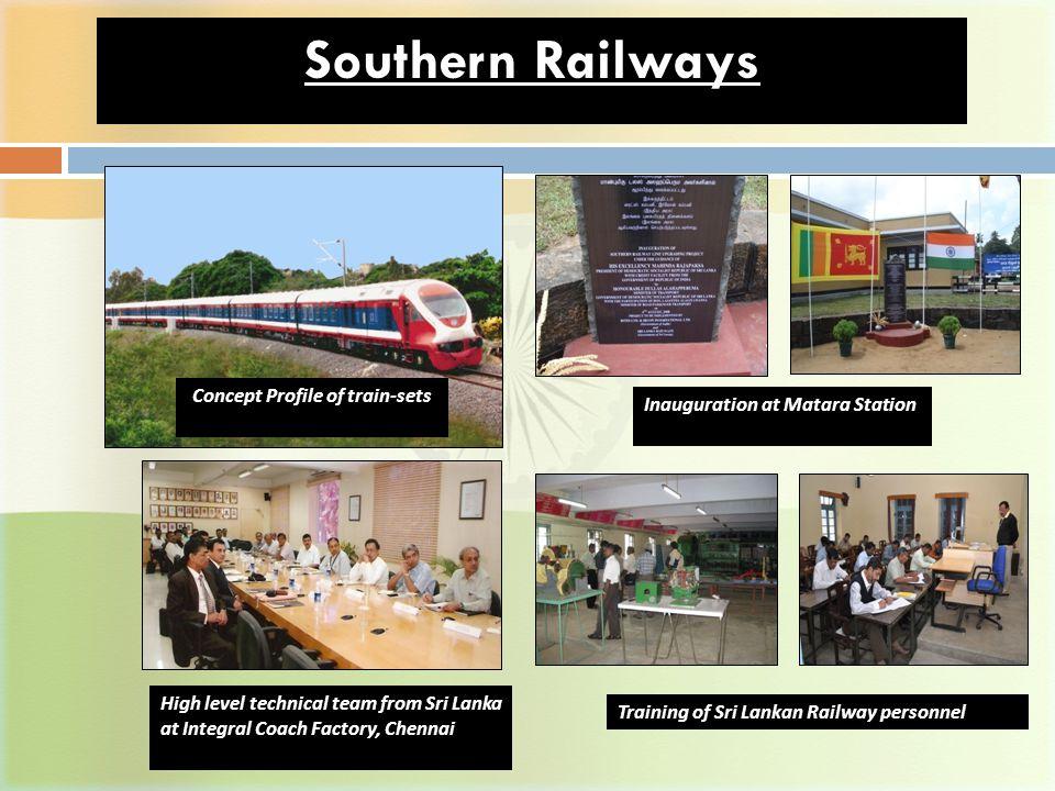 Southern Railways Concept Profile of train-sets Inauguration at Matara Station Training of Sri Lankan Railway personnel High level technical team from Sri Lanka at Integral Coach Factory, Chennai
