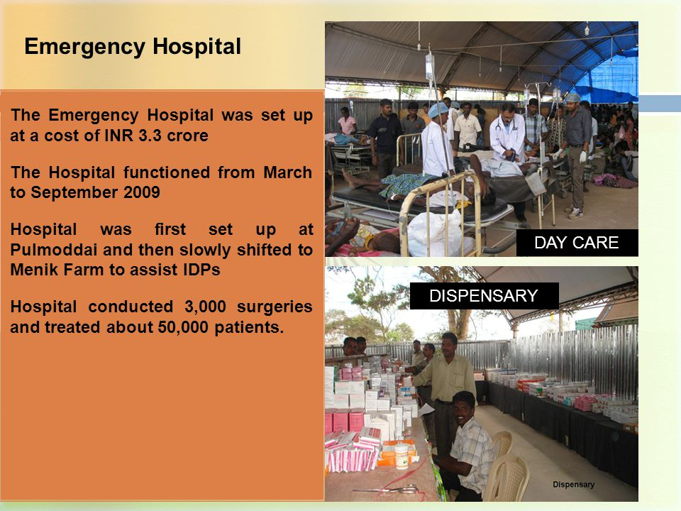Distribution of Medical Equipment to Government Hospitals GOI supplied High valued critical medical equipment to the District Hospitals at Jaffna, Kilinochchi and Mullaiteevu to help the general public avail of the best medical care Project was implemented at a cost of INR 9.58 crore