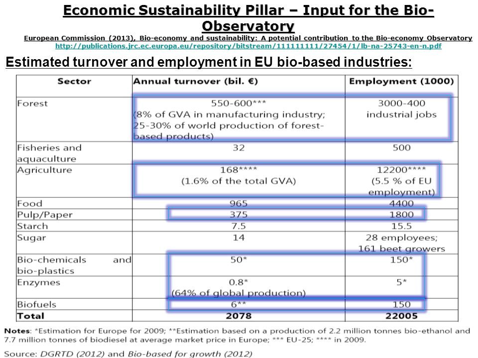 Economic Sustainability Pillar – Input for the Bio- Observatory European Commission (2013), Bio-economy and sustainability: A potential contribution to the Bio-economy Observatory http://publications.jrc.ec.europa.eu/repository/bitstream/111111111/27454/1/lb-na-25743-en-n.pdf http://publications.jrc.ec.europa.eu/repository/bitstream/111111111/27454/1/lb-na-25743-en-n.pdf Estimated turnover and employment in EU bio-based industries: