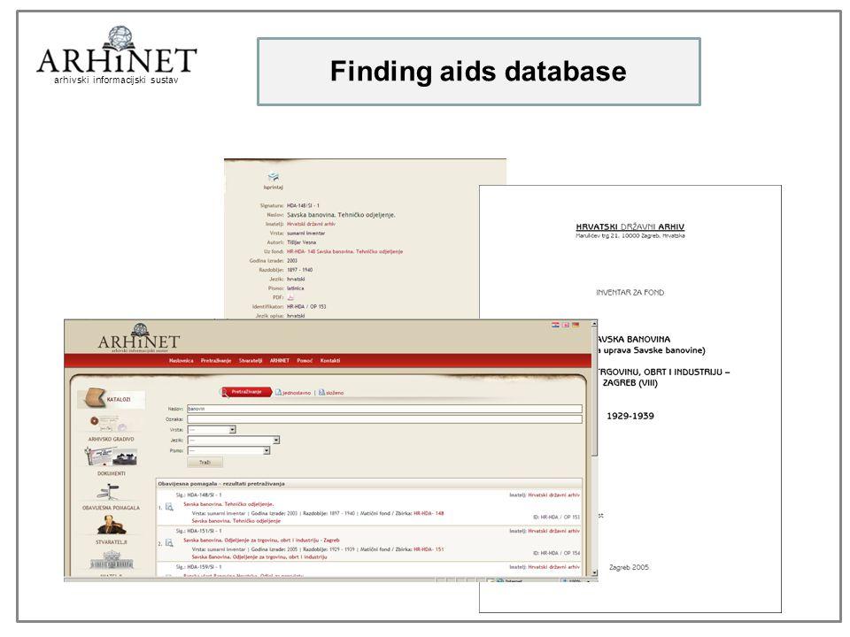arhivski informacijski sustav Finding aids database
