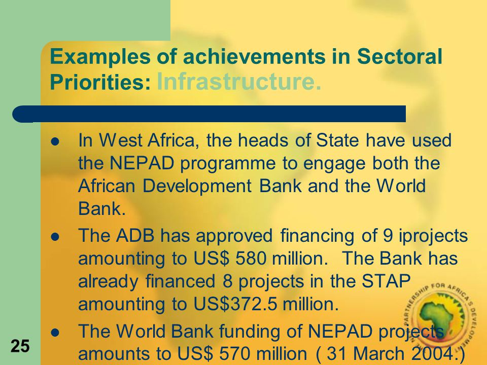 25 Examples of achievements in Sectoral Priorities: Infrastructure.