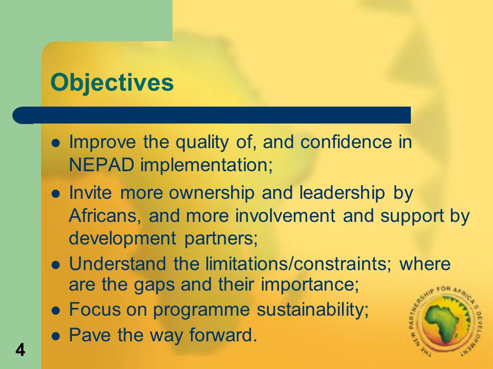 15 The NEPAD framework NEPAD is structured into three components: Preconditions for sustainable development: Peace, Security, Democracy and Political Governance Initiatives; the Economic and Corporate Governance Initiative; and the sub-regional and regional approaches to development.