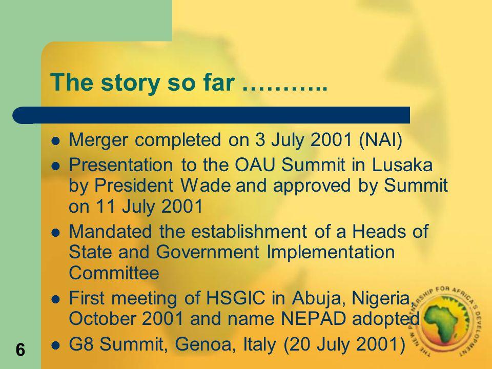 6 The story so far ………..